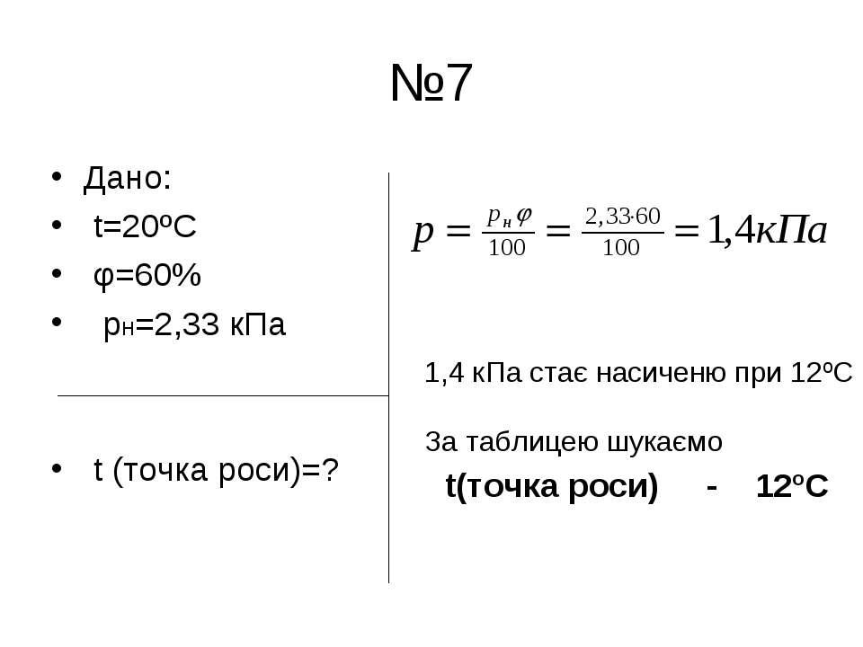 №7 Дано: t=20ºC φ=60% рн=2,33 кПа t (точка роси)=? 1,4 кПа стає насиченю при ...