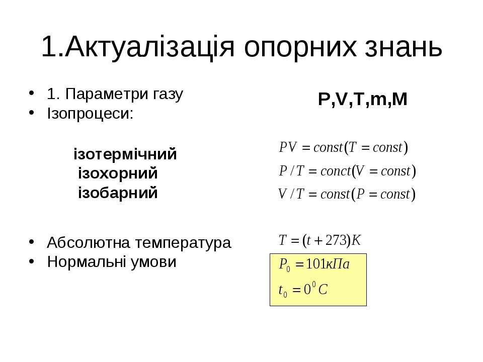 1.Актуалізація опорних знань 1. Параметри газу Ізопроцеси: Абсолютна температ...