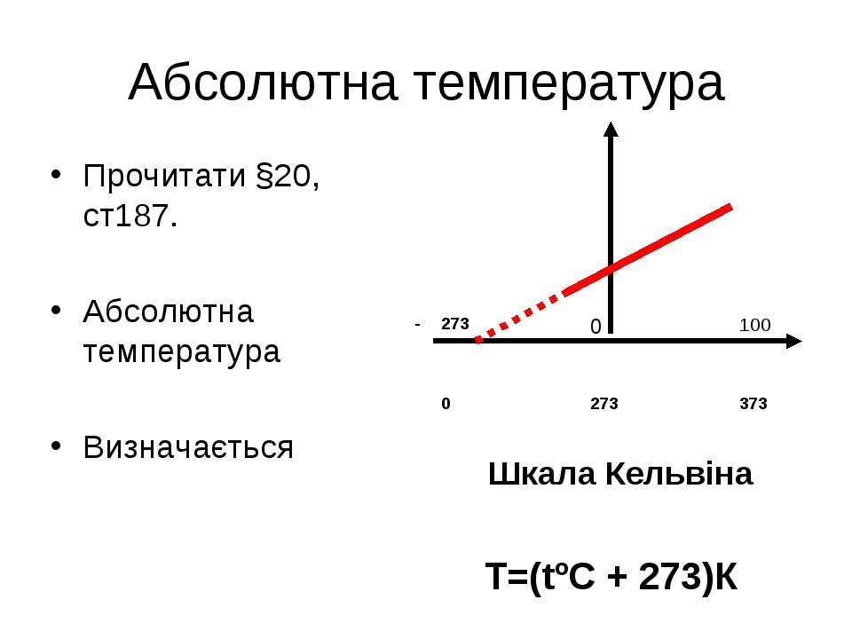 Абсолютна температура Прочитати §20, ст187. Абсолютна температура Визначаєтьс...