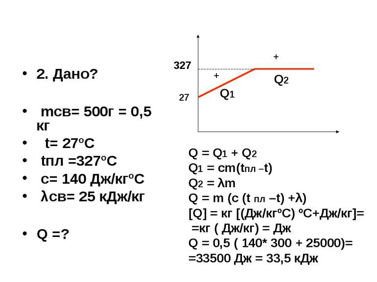 2. Дано? mсв= 500г = 0,5 кг t= 27ºC tпл =327ºС с= 140 Дж/кгºС λсв= 25 кДж/кг ...