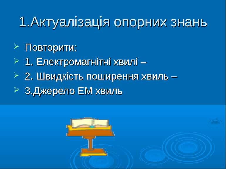 1.Актуалізація опорних знань Повторити: 1. Електромагнітні хвилі – 2. Швидкіс...