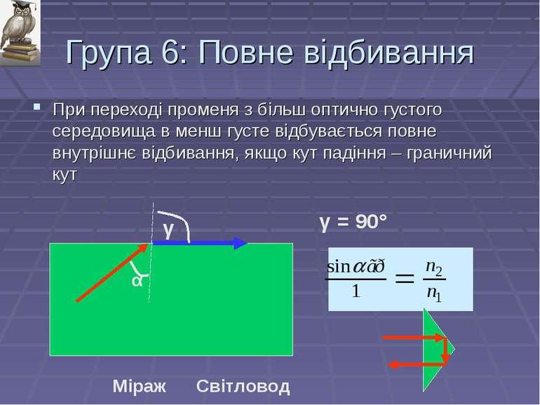 Група 6: Повне відбивання При переході променя з більш оптично густого середо...