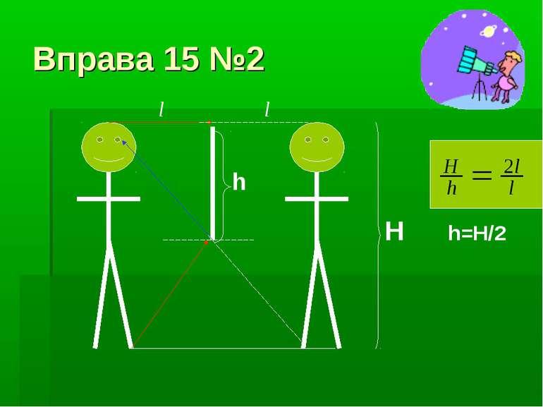 Вправа 15 №2 h H l l h=H/2