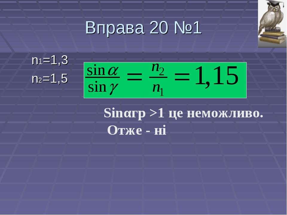 Вправа 20 №1 n1=1,3 n2=1,5 Sinαгр >1 це неможливо. Отже - ні