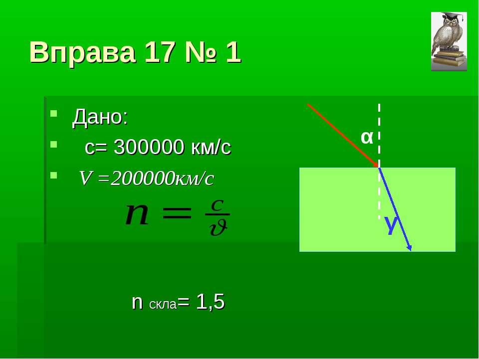 Вправа 17 № 1 Дано: с= 300000 км/с V =200000км/с n скла= 1,5 α γ