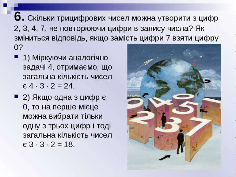 6. Скільки трицифрових чисел можна утворити з цифр 2, 3, 4, 7, не повторюючи ...