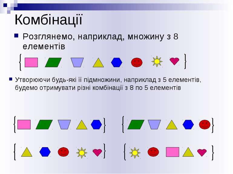 Комбінації Розглянемо, наприклад, множину з 8 елементів Утворюючи будь-які її...
