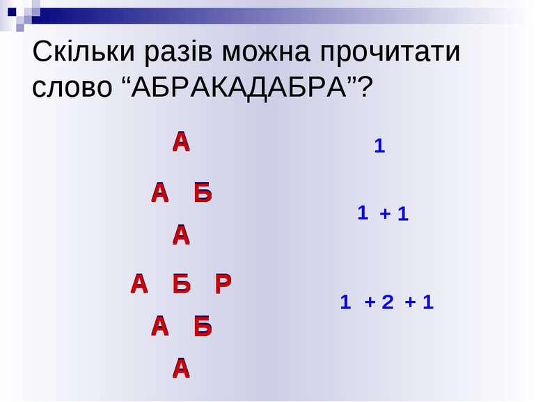 """Скільки разів можна прочитати слово """"АБРАКАДАБРА""""? А А 1 А Б А А Б Б А 1 + 1 ..."""