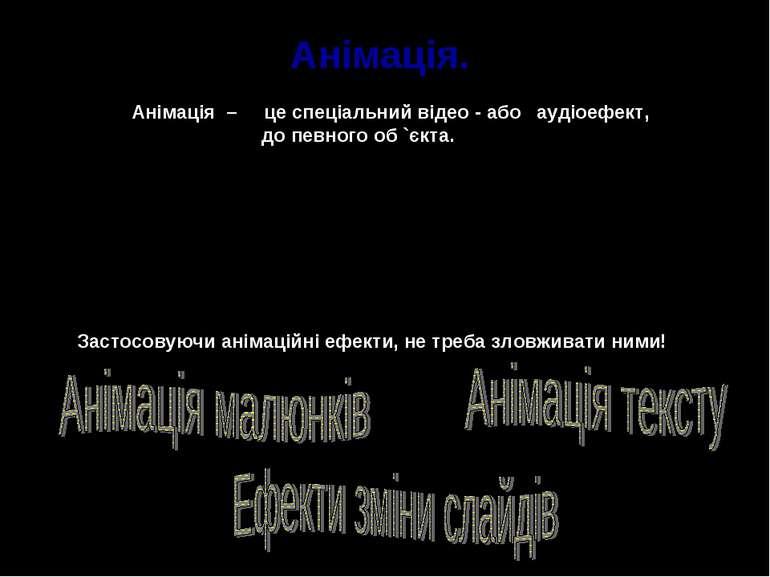 Анімація. Анімація – це спеціальний відео - або аудіоефект, до певного об `єк...