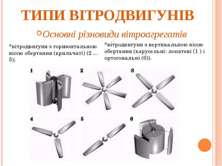 ТИПИ ВІТРОДВИГУНІВ Основні різновиди вітроагрегатів *вітродвигуни з горизонта...