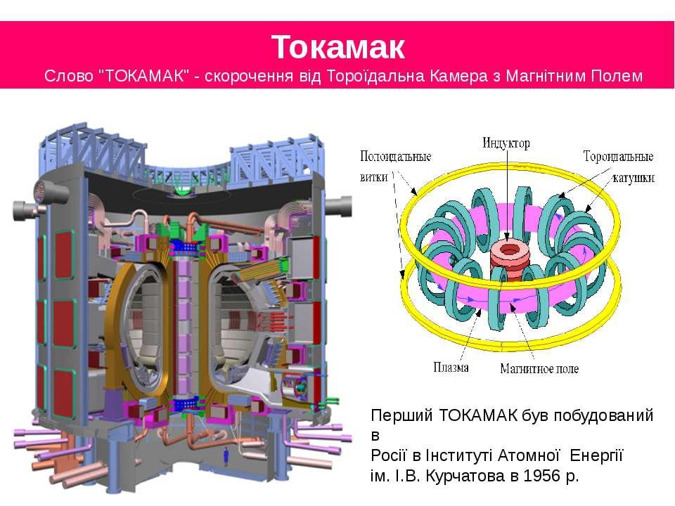 """Токамак Слово """"ТОКАМАК"""" - скорочення від Тороїдальна Камера з Магнітним Полем..."""