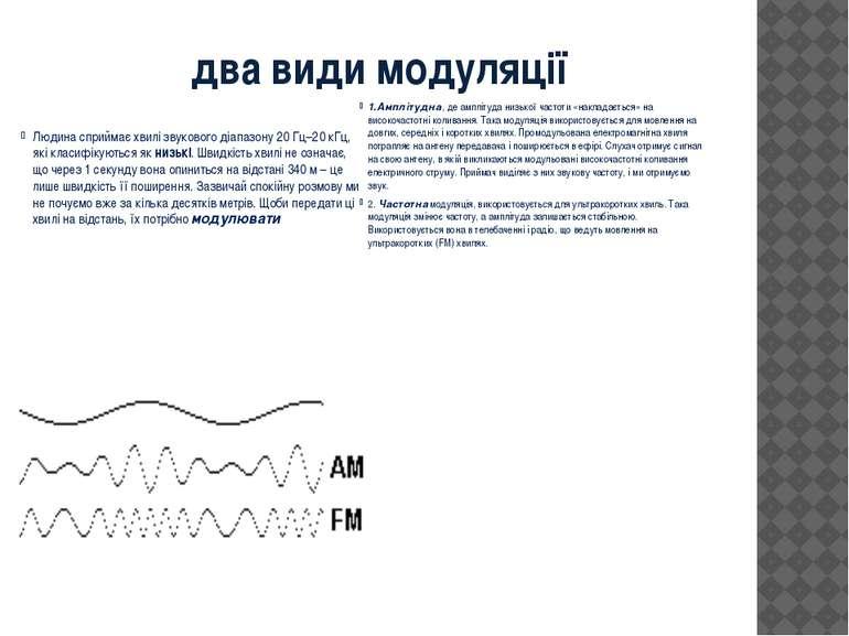 два види модуляції  Людина сприймає хвилі звукового діапазону 20Гц–20кГц, ...