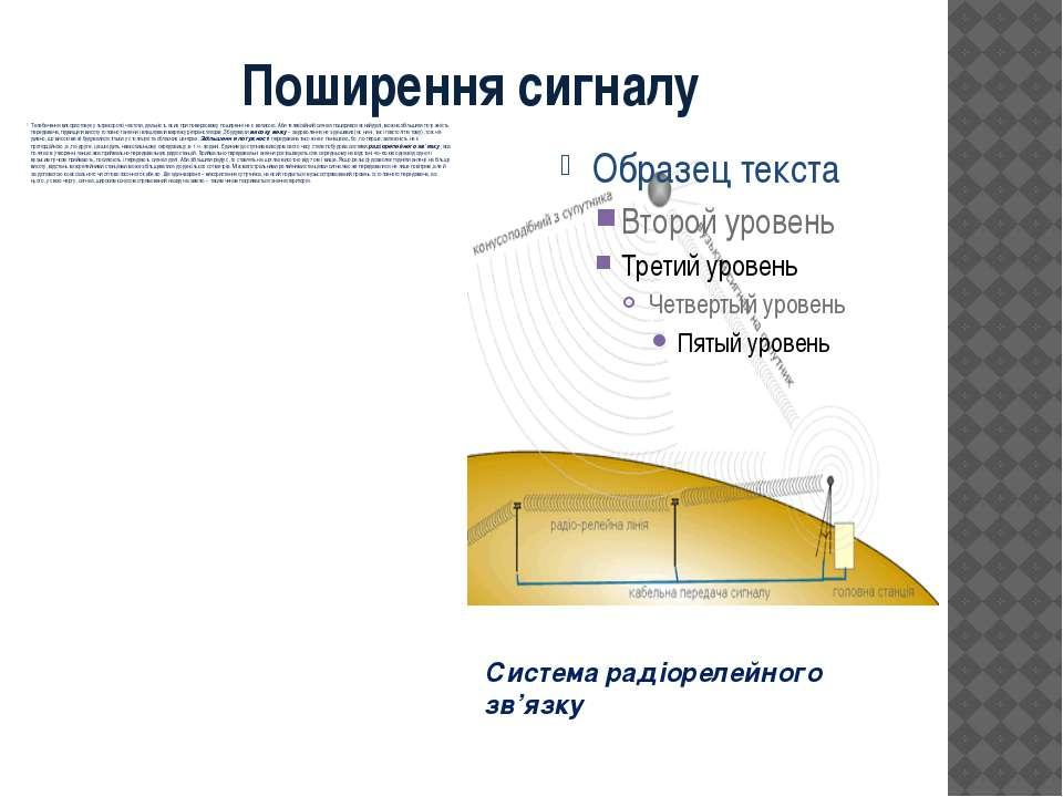 Поширення сигналу Телебачення використовує ультракороткі частоти, дальність я...