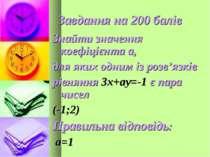 Завдання на 200 балів Знайти значення коефіцієнта а, для яких одним із розв'я...