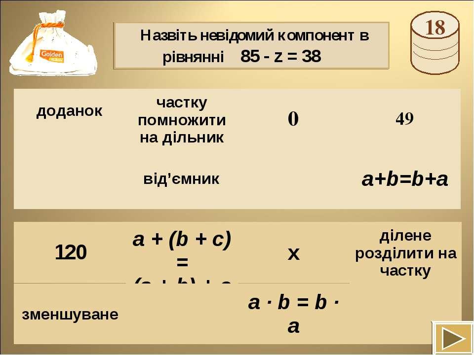 Назвіть невідомий компонент в рівнянні 85 - z = 38 a + (b + c) = (a + b) + c ...