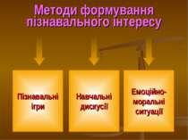 Методи формування пізнавального інтересу Пізнавальні ігри Навчальні дискусії ...
