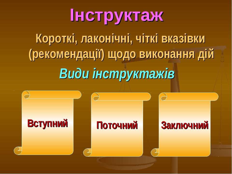 Інструктаж Короткі, лаконічні, чіткі вказівки (рекомендації) щодо виконання д...