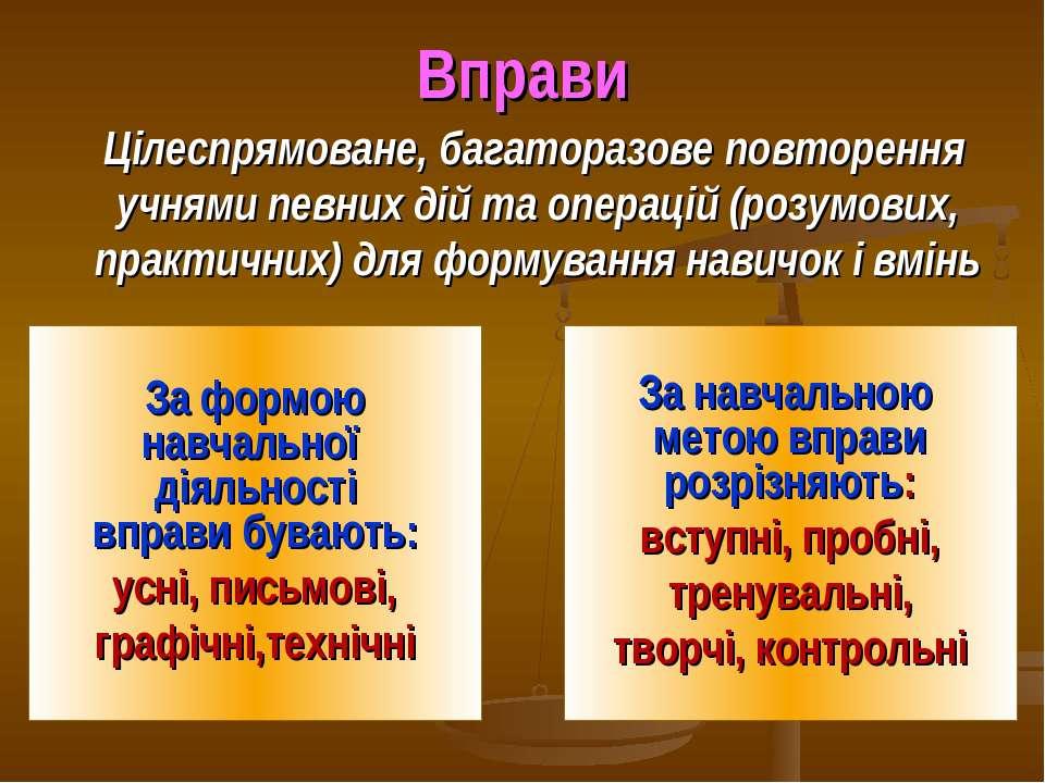 Вправи Цілеспрямоване, багаторазове повторення учнями певних дій та операцій ...