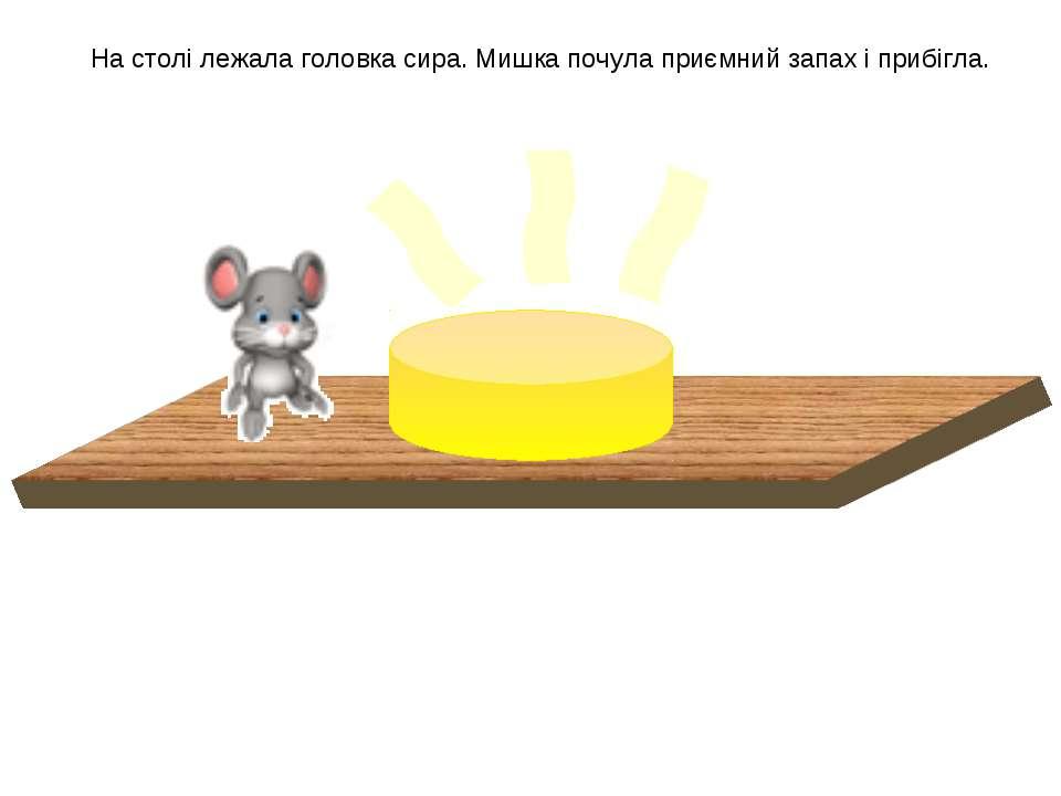 На столі лежала головка сира. Мишка почула приємний запах і прибігла.