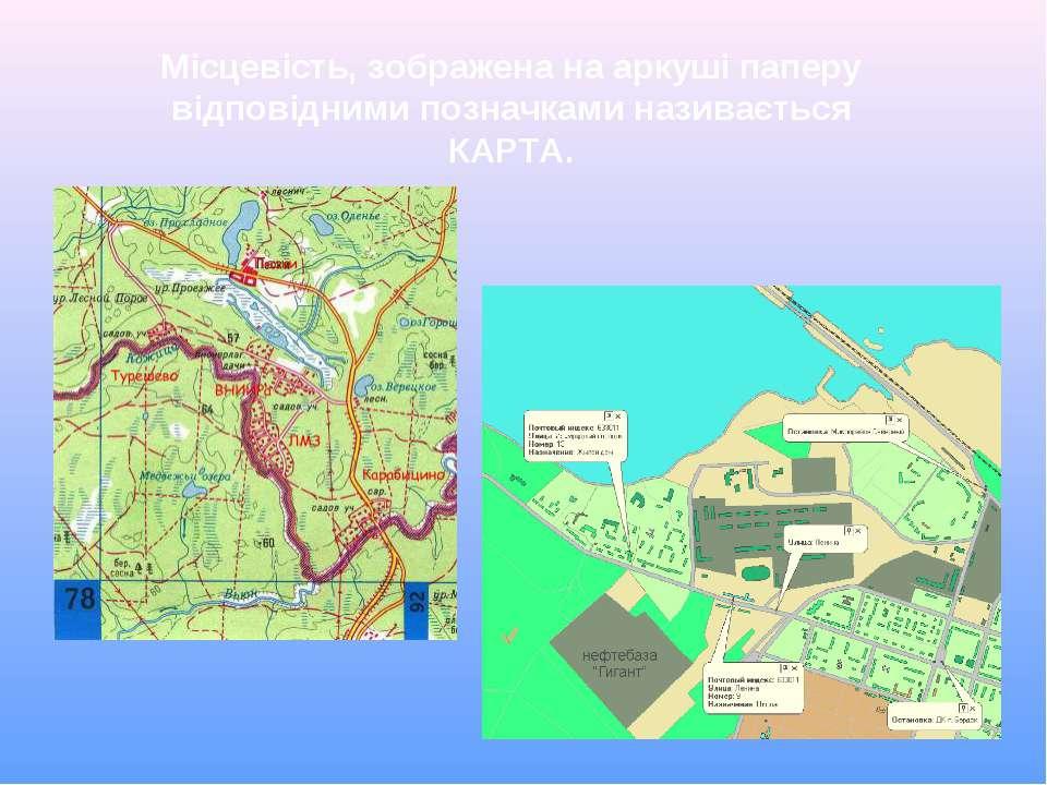 Місцевість, зображена на аркуші паперу відповідними позначками називається КА...