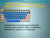 Давайте розглянемо малюнок та дізнаємося де розташовані ці клавіші Клавіша En...