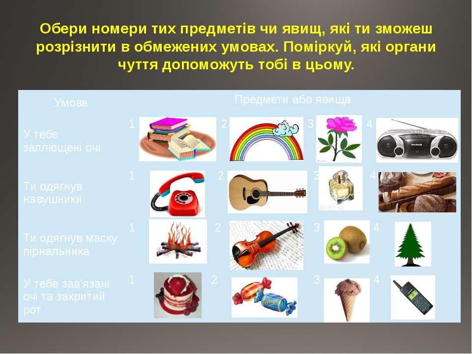 Обери номери тих предметів чи явищ, які ти зможеш розрізнити в обмежених умов...