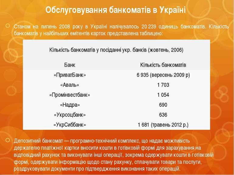 Обслуговування банкоматів в Україні Станом на липень 2008 року в Україні налі...