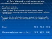 6. Виробничий план і менеджмент. При плануванні обсягу випуску на 2012 рік ми...