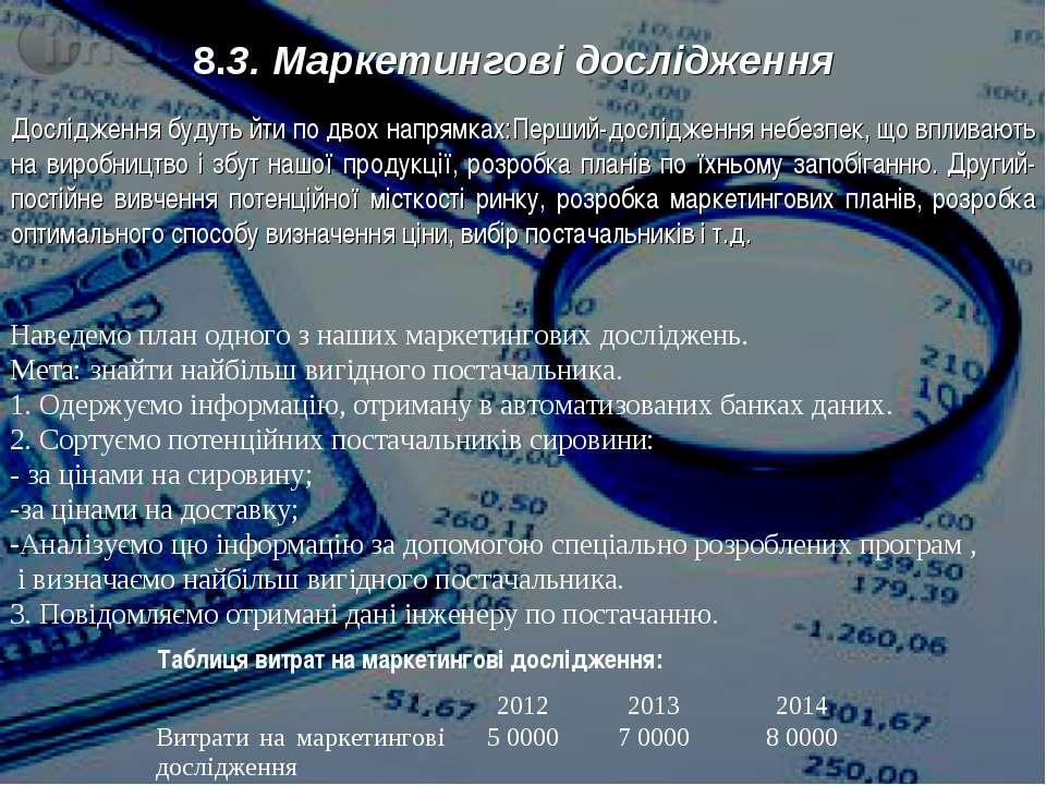 8.3. Маркетингові дослідження Дослідження будуть йти по двох напрямках:Перший...