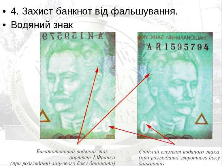 4. Захист банкнот від фальшування. Водяний знак