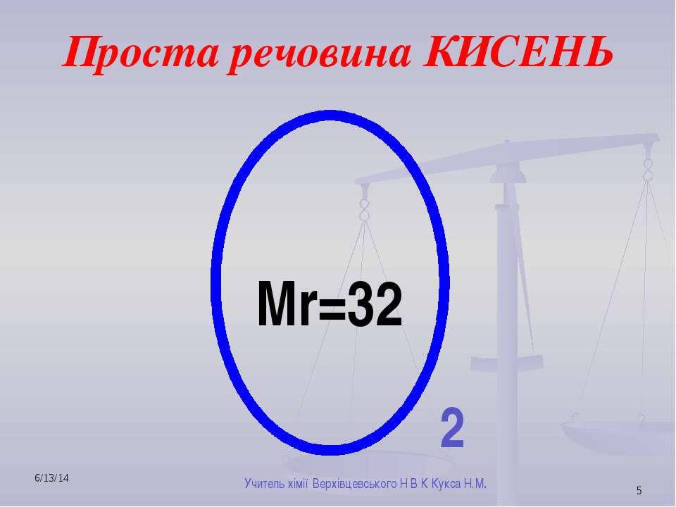 Проста речовина КИСЕНЬ Мr=32 2 Учитель хімії Верхівцевського Н В К Кукса Н.М.