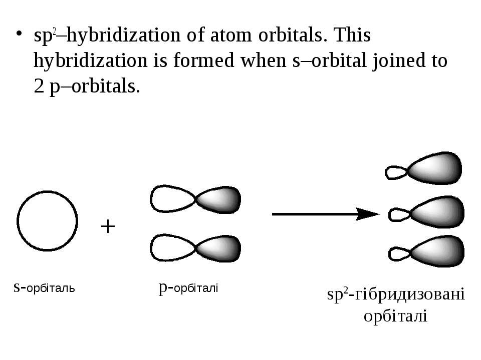 sp2–hybridization of atom orbitals. This hybridization is formed when s–orbit...