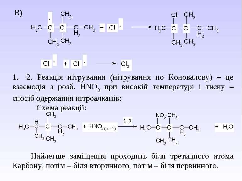 В) 1.2. Реакція нітрування (нітрування по Коновалову) – це взаємодія з ро...