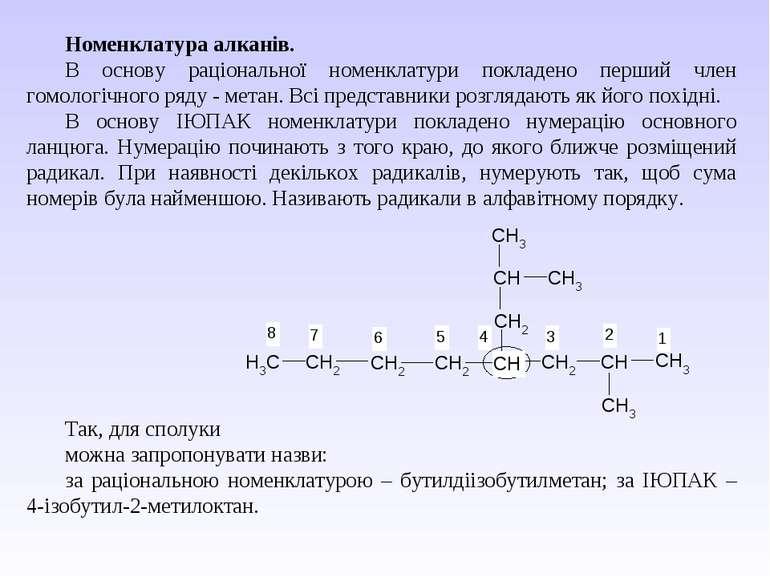 Номенклатура алканів. В основу раціональної номенклатури покладено перший чле...