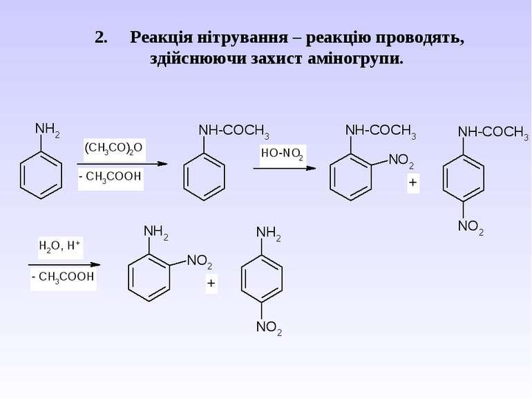 2. Реакція нітрування – реакцію проводять, здійснюючи захист аміногрупи.