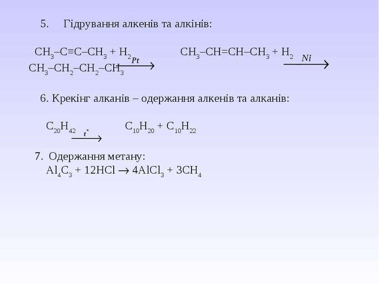 5.  Гідрування алкенів та алкінів: СН3–С≡С–СН3 + Н2 СН3–СН=СН–СН3 + Н2 С...