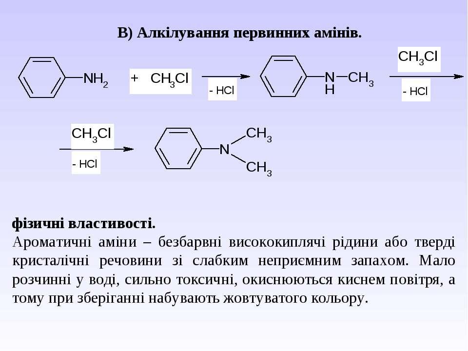 В) Алкілування первинних амінів. фізичні властивості. Ароматичні аміни – без...