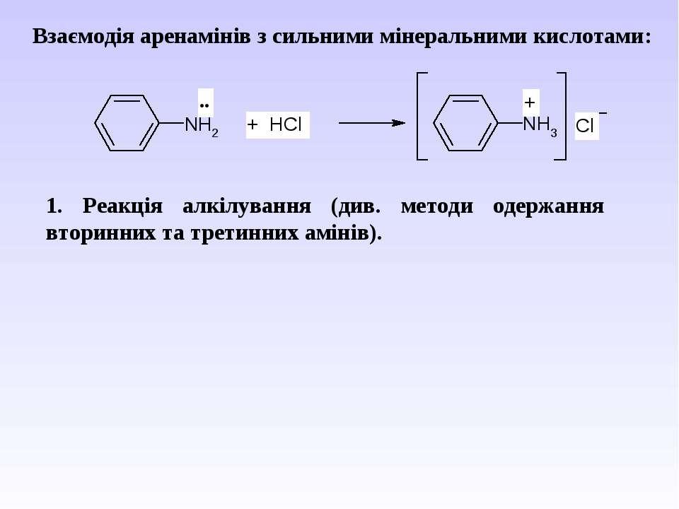 Взаємодія аренамінів з сильними мінеральними кислотами: 1. Реакція алкілуванн...