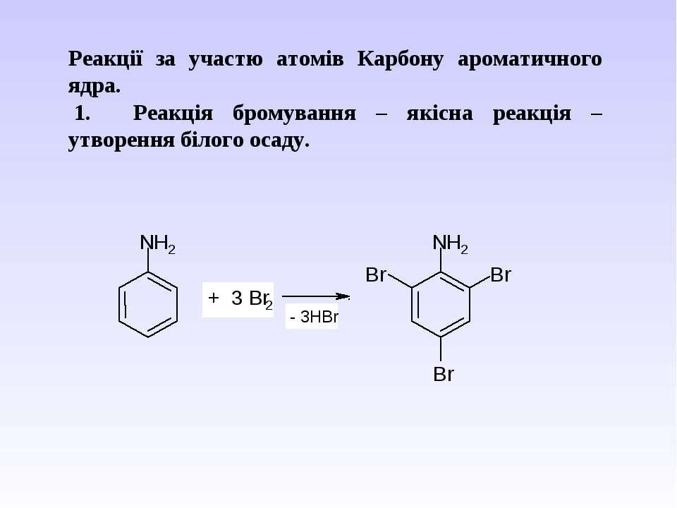 Реакції за участю атомів Карбону ароматичного ядра. 1. Реакція бромуванн...