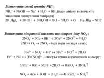 Визначення солей амонію NН4+: NH4+ + NаOH Nа+ + H2O + NH3 (пари аміаку визнач...