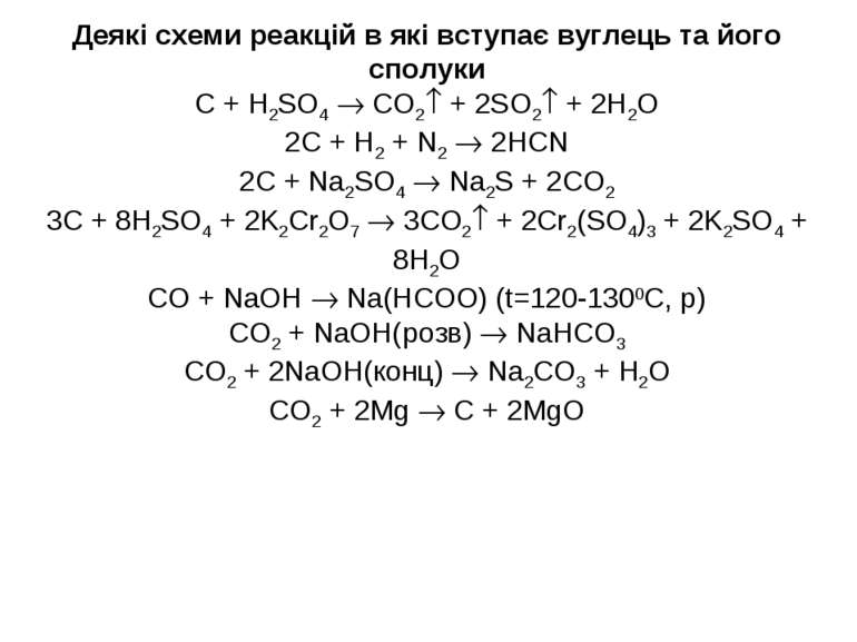 Деякі схеми реакцій в які вступає вуглець та його сполуки C + H2SO4 CO2 + 2SO...
