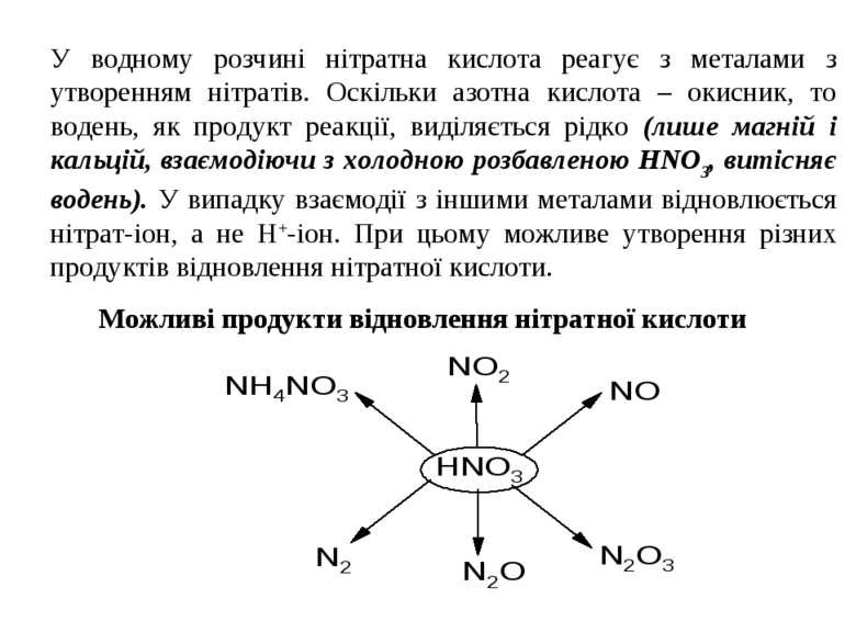 У водному розчині нітратна кислота реагує з металами з утворенням нітратів. О...