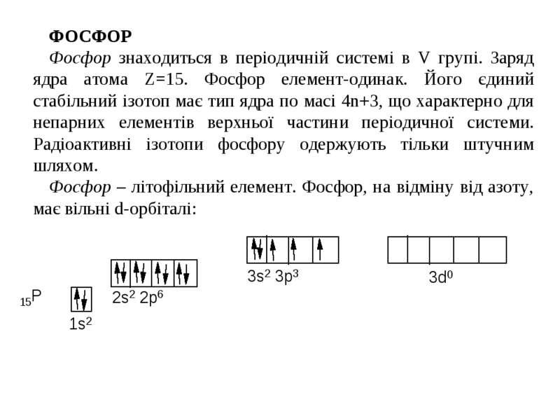 ФОСФОР Фосфор знаходиться в періодичній системі в V групі. Заряд ядра атома Z...