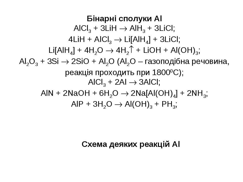 Бінарні сполуки Al AlCl3 + 3LiH AlH3 + 3LiCl; 4LiH + AlCl3 Li[AlH4] + 3LiCl; ...