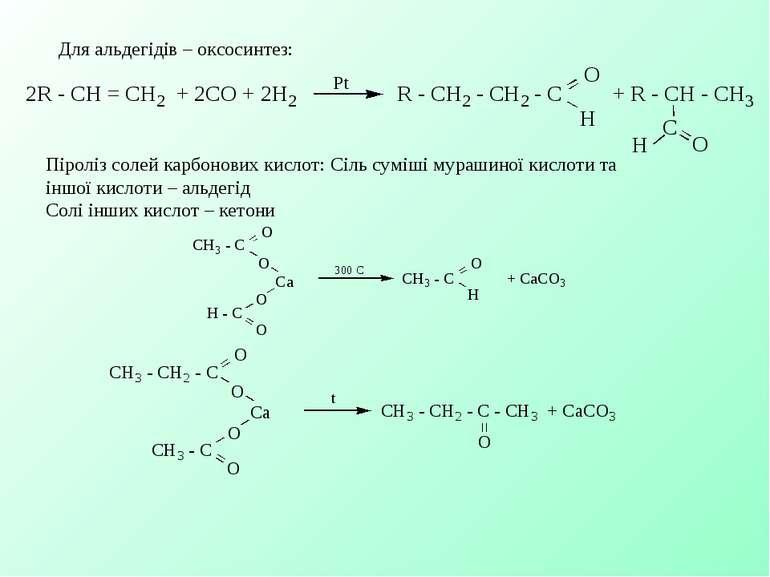 Для альдегідів – оксосинтез: Піроліз солей карбонових кислот: Сіль суміші мур...