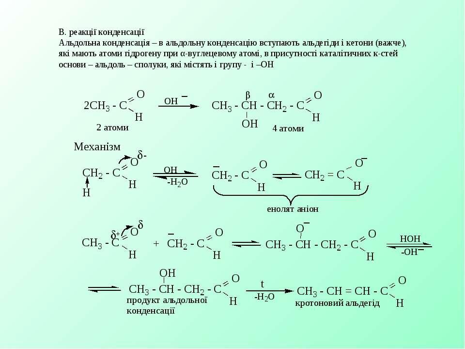 В. реакції конденсації Альдольна конденсація – в альдольну конденсацію вступа...