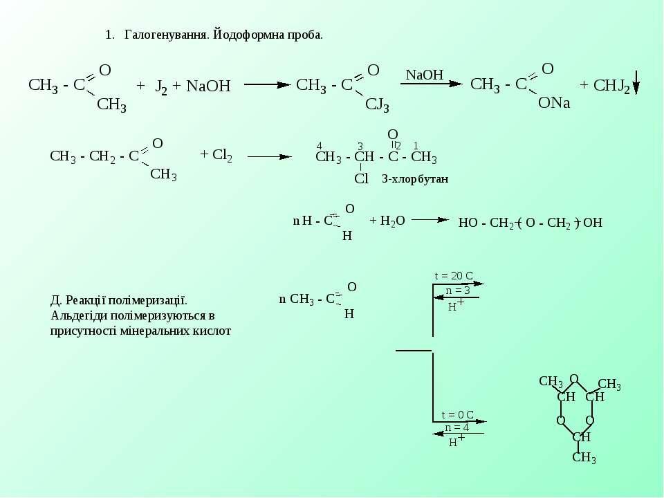 1. Галогенування. Йодоформна проба. Д. Реакції полімеризації. Альдегіди п...