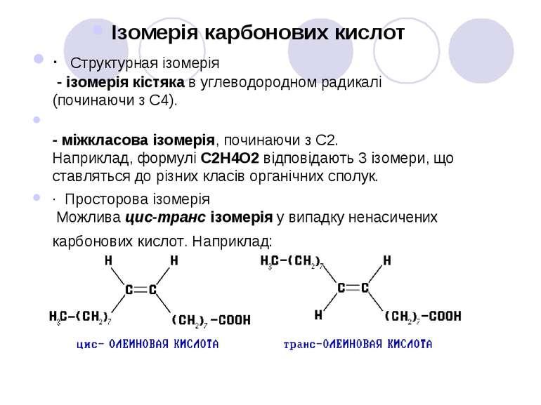 Ізомерія карбонових кислот · Cтруктурная ізомерія - ізомерія кістяка в углево...