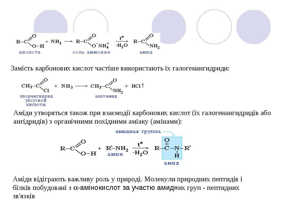 Замість карбонових кислот частіше використають їх галогенангидриди: Аміди утв...