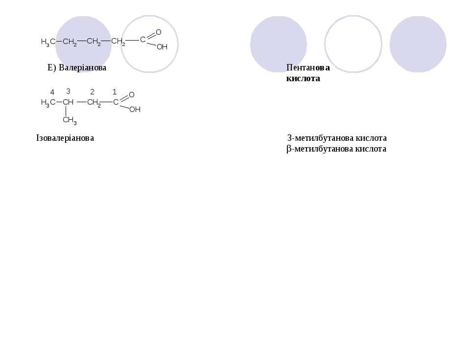 Е) Валеріанова Пентанова кислота Ізовалеріанова 3-метилбутанова кислота -мети...